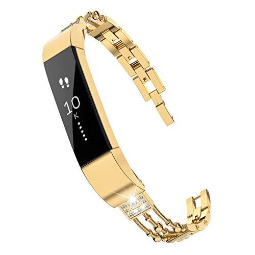 Wearlizer für Fitbit Alta HR Armband, Metall Ersatzband Band Armbänder Uhrenarmband für Fitbit Alta/Fitbit Alta HR (Kette Gold)
