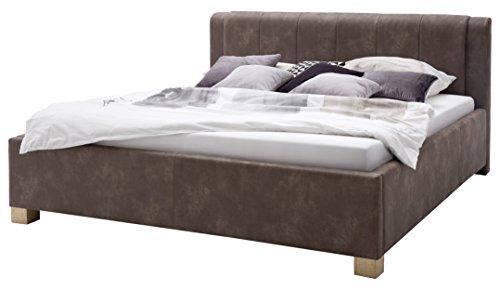 sette notti Polsterbett Bett 180x200 Braun Vintage Look, Bett mit Liegefläche 180x200 cm, Stoff Braun Vintage, Venedig Art Nr. 1240-10-5000