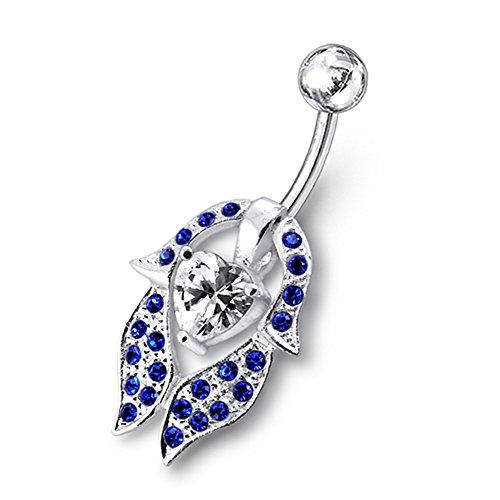 Bijou de corps anneau de nombril cœur à pierre avec pétale de fleur avec Argent Sterling avec 14G-3/8 Inch (1.6x10MM) Banana Acier chirurgical 316L Dark Blue
