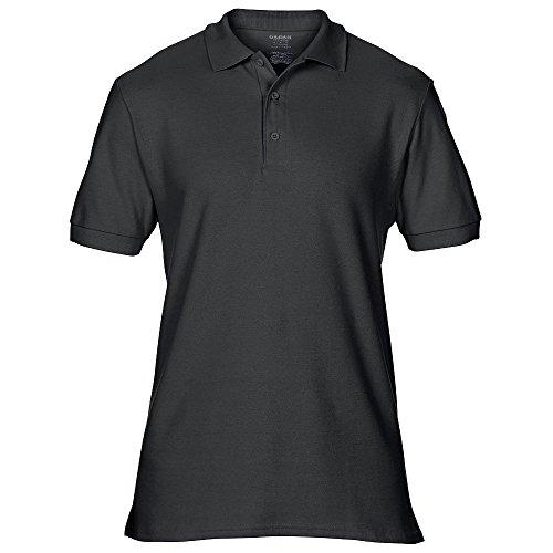 Gildan Mens Premium Double Pique Sport Shirt Schwarz - Schwarz