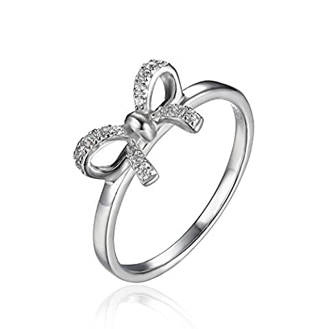 JewelryPalace Bow Cubic Zirconia Anniversary Wedding Ring 925 Sterling Silver Size N