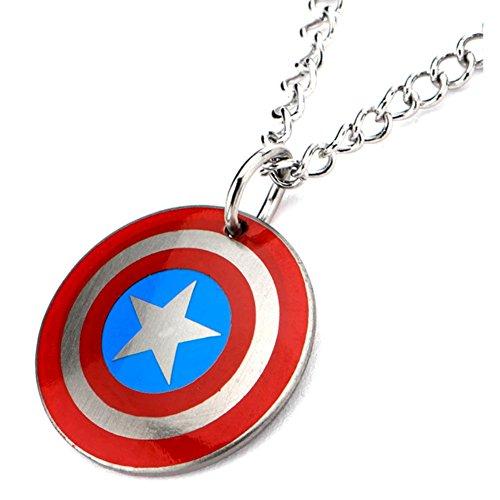 Ufficiale in Acciaio Inox Captain America Logo Shield Ciondolo Bambini Con La Catena - Logo Ufficiale Pendente Logo A Pendente