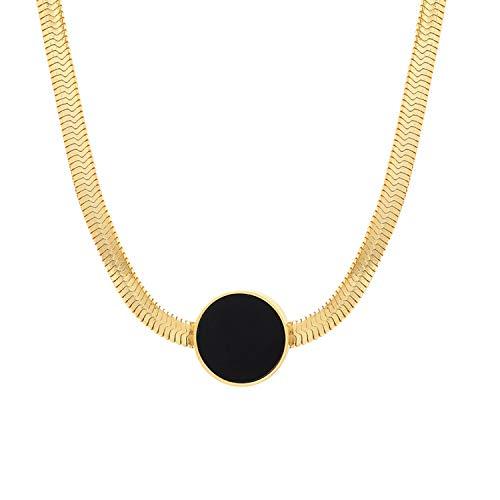 Schmuck Kostüm Paparazzi - Halskette mit Schlangen-Anhänger für Damen, Titanstahl, Goldfarben, Emaille, metall, gold, 45 cm