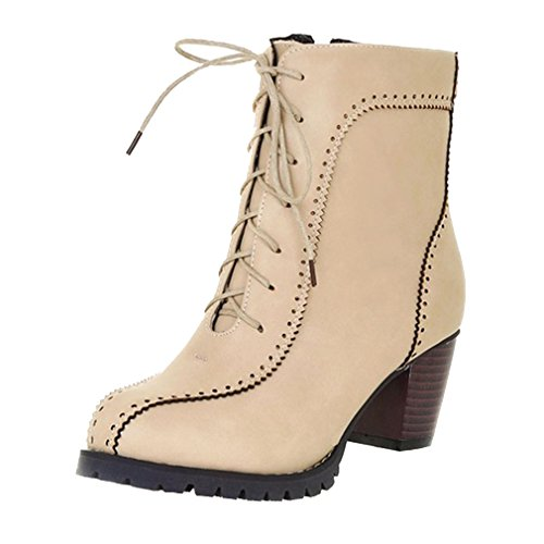 YE Damen Retro Elegant Chunky Heels schnürstiefeletten mit 6cm Absatz Blockabsatz Bequeme Ankle Boots Herbst Winter Schuhe Beige