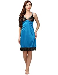 Miavii Women Turquoise Satin Babydoll Nightdress/Nighty
