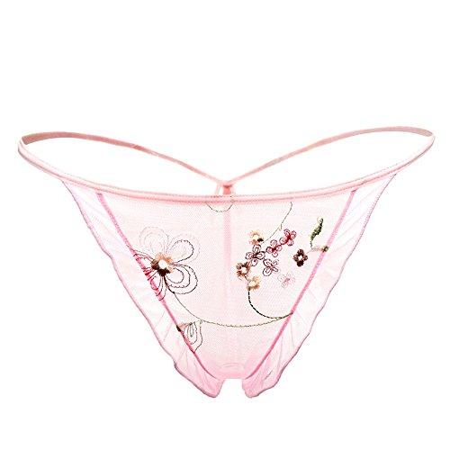 Aifei t-pants con perizoma senza cuciture ricamati in pizzo sexy da donna, rosa, taglia unica
