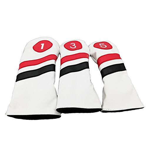 3 STÜCKE Retro Golf Headcovers Weiß Rot Und Schwarz Vintage Leder Stil 1 3 5 Fahrer Und Fairway Head Covers Passt 460cc Fahrer Klassischen Look