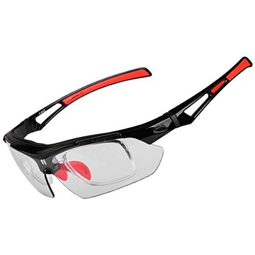 HLSE Radfahren Brille Outdoor-Reiten mit 6 austauschbaren Linsen polarisierte UV400 Myopie für Winddichte Sand Männer und Frauen Sport Motorrad Farbe Fahrrad (schwarz rot)