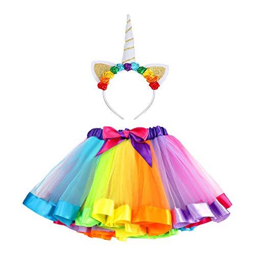 Vamei deguisement licorne enfant Jupe Tutu en ruban arc-en-ciel pour les filles Costumes de ballets avec fleuri serre tete licorne cadeaux de licorne pour les filles