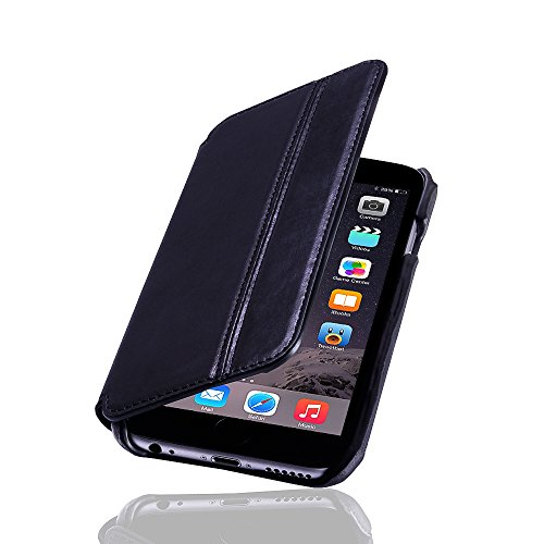 LAVADIA Design Lederklapphülle Case Tasche Arizona für Apple iPhone 6/6S schwarz aus echtem Leder mit Visitenkarten- und Geldfach. Dünne Ledertasche Hülle zum aufklappen als edles Zubehör