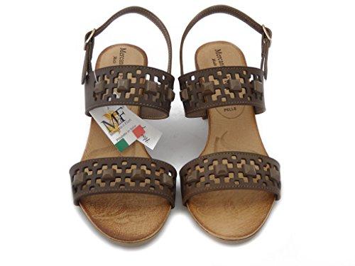 MERCANTE DI FIORI, Sandale aus braunem Leder mit 6cm Ferse., Gepolstertes Fußbett und Gummisohle , Sommer-45789 braun