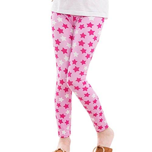 FNKDOR Baby Mädchen Leggings, Kinder Bunt Blume Hosen Silm Fit Leggins (Länge: 65cm; Höhe: 111-120cm, Pink)