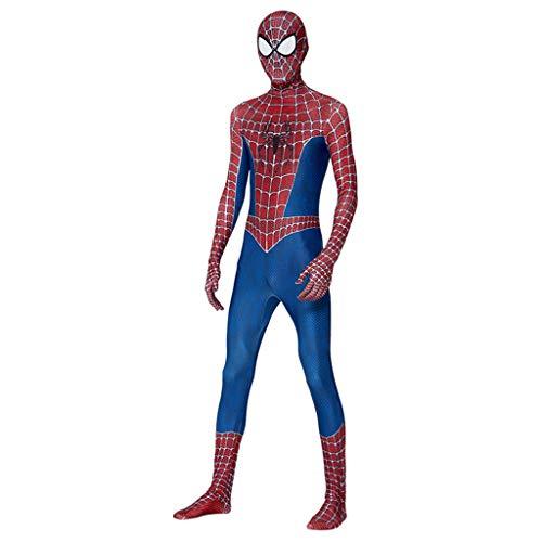 Blau Mann Kostüm Spider - Ghuajie5hao Frauen 3D gedruckt Trikot Erwachsene Spiderman Cosplay Kostüme Bodysui Halloween Maskerade Overall Elastische Männer Anime Filmrequisiten Kleidung,Blau,M
