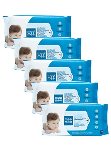 Mee Mee Baby Wet Wipes, Aloe Vera, 72 Pieces (Pack of 5)
