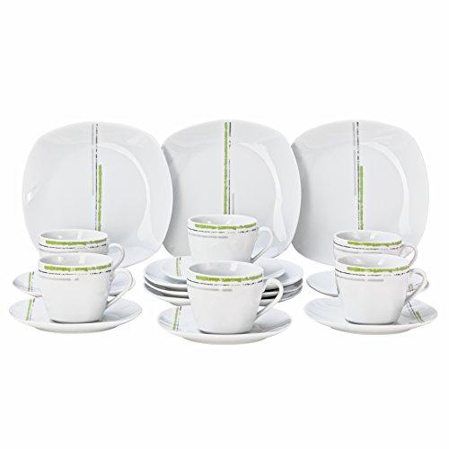 Wellco Design Laredo 18-Teilig Kaffeeervice, Porzellan, Weiß Mit Grünem Streifendekor, 35 x 30 x...