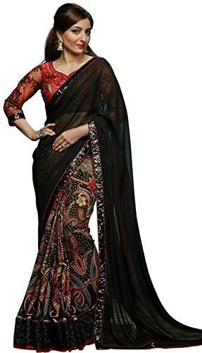Kjp Villa Women\'s Georgette & Print black Free Size embroidery Saree With Blouse Pics (zeel saree-193)