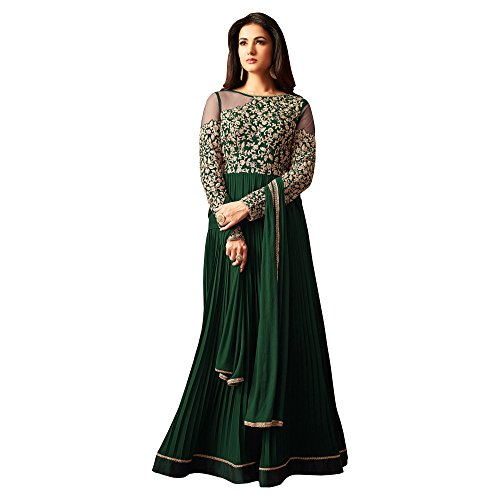 Salwar Soul Designer Green Faux Georgette Festive Wear Anarkali Salwar Kameez (salwar_ER10492_free...