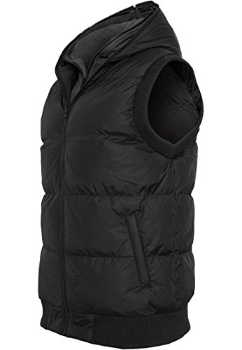Urban Classics Herren Outdoor Weste Double Hooded Vest Schwarz/Grau