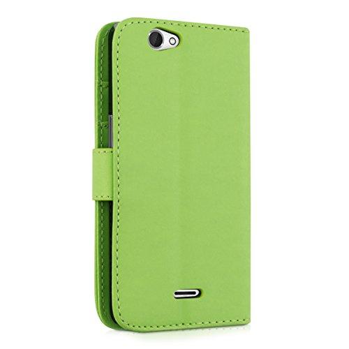 kwmobile Custodia portafoglio per Wiko Getaway - Cover a libro in simil pelle Flip Case con porta carte funzione appoggio nero .verde