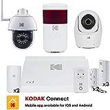 KODAK Pack Alarme Full Protection, Système d'alarme connecté (Batterie et sirène intégrées) livrée avec 2 caméras motorisées Full HD 1080P, 7 Accessoires, 1 sirène extérieure et Une Prise connectée.