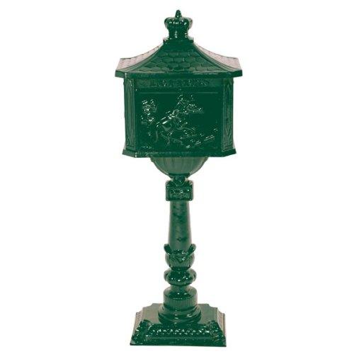 antiker Briefkasten Postkasten Nostalgie Standbriefkasten mit Fuß Aluminium grün