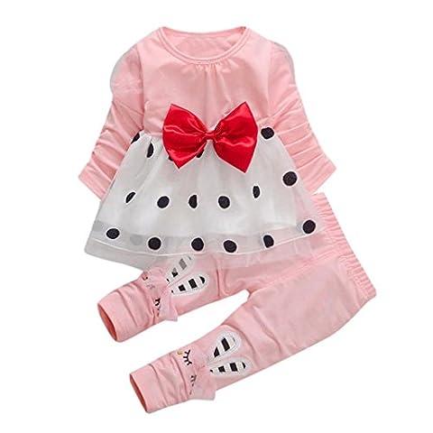 Hirolan Kleinkind Baby Mädchen Bowknot Lange Hülse Punkt Niedlich Prinzessin Kleid + Kaninchen Hose Set Anzug zum 0-4T Baby Baumwolle und Spitze Material (120cm, (Rock Band Baby Onesies)
