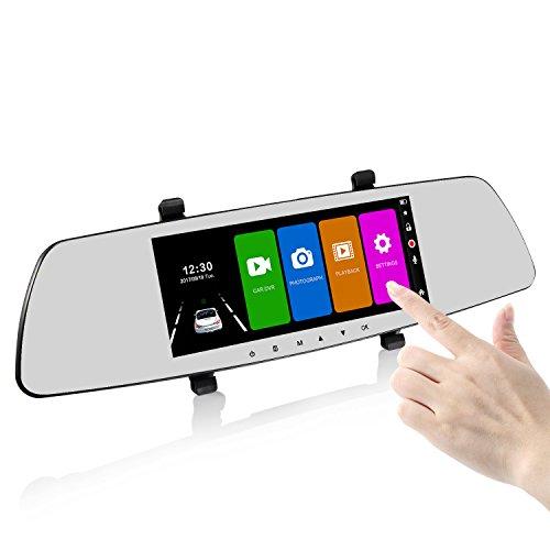 SENDOW Mirror Dual Dash Cam 7 Inch 1080p IPS Display 170° Wide Angle Armaturenbrett Kamera, Fahrzeug R¨¹ckspiegel Dash Kamera Mit Parking Monitor Loop Recording (Auto Dash Cam Spiegel)