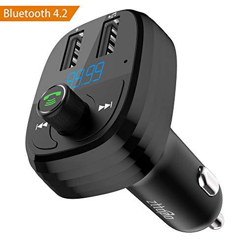 Trasmettitore FM Bluetooth Auto, Zttopo Bluetooth 4.2 Handsfree Lettore Auto Dual 2 USB 5V/ 3.4A, Radio Adattatori Car Kit Vivavoce Per Auto