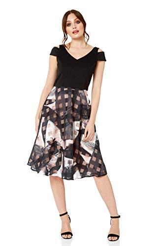 Roman Originals Damen Skater-Kleid mit Print - mit V-Ausschnitt, kurzärmelig, Knielang, mit Schulter-Cut-Outs, mit Reißverschluss, zum Ausgehen, elegant, für Cocktails, Partys - Schwarz - Größe 46
