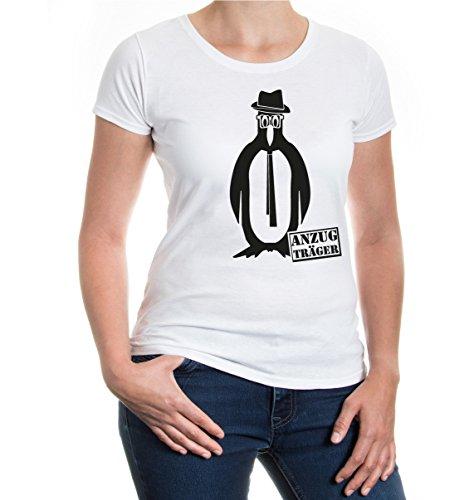 buXsbaum® Girlie T-Shirt Anzugträger White-Black