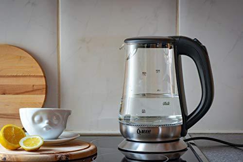BeLeaf - Glas Wasserkocher - Teekocher - 1,7 Liter - 2200 Watt - kabellos - LED-Beleuchtung - Cool-Touch-Griff - Basisstation mit Kabelaufwicklung - Überhitzungsschutz - Abschaltautomatik - schwarz - kalkfilter