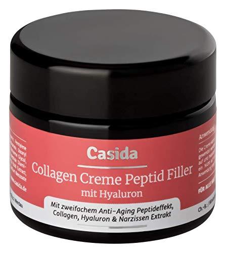 Collagen Creme Peptid Filler + Hyaluron Anti-Falten Creme mit Collagen, zweifachem Anti-Aging Peptideffekt, Hyaluron & Narzissen-Extrakt 50 ml - aus der Apotheke