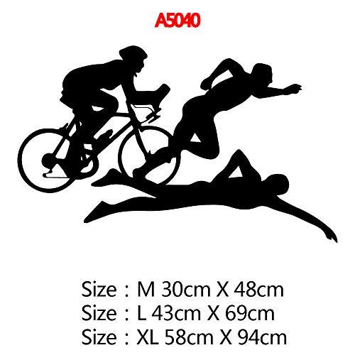 Sport Schwimmen Fahrrad Vinyl Aufkleber Wanddekoration Wohnzimmer Zimmer Haus Dekoration Für Gymnasium Wanddekor Wandbild 43 * 69 cm