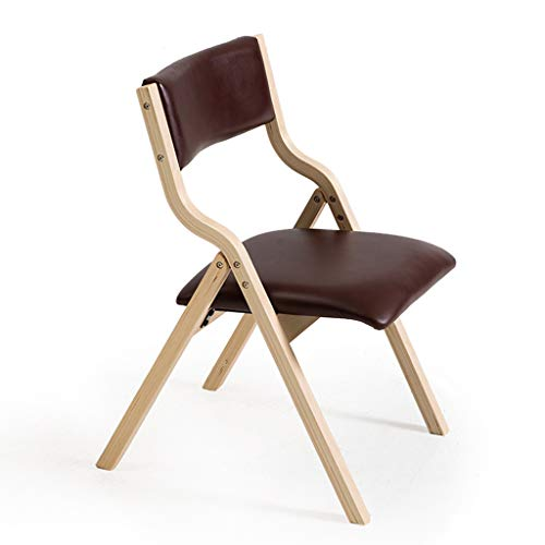 TD26 Chaise pliante en bois massif en cuir PU, dossier à la maison Chaise d'ordinateur moderne simple repas Mahjong chaise de bureau (Couleur : B)