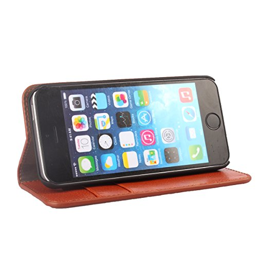 iPhone 5 5s Handycover, TOTOOSE für iPhone 5 5s Crazy Horse Pattern Genuine Leder Brieftasche Handycover mit Flip Stand Funktion Fotorahmen und Kartensteckplätze TPU Silikon Weiche Abdeckung Rot Pink