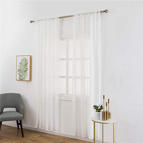 UEB Rideaux Salon de Fenêtre Lin Pur Pure Moderne en Tulle Chambre à Coucher pour Enfant Adulte Rideau Occultant Rideau Voilage 100 X 200cm Blanc