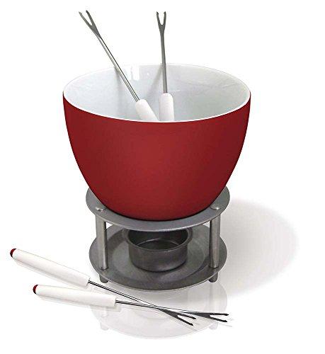 Vin Bouquet FIH 022 - Fondue chocolate/queso cerámica, con vela incluida y 4 pinchos, base inox, color blanco y rojo
