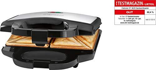 Clatronic ST 3628 Sandwichtoaster, dreieckige Sandwichplatten mit Antihaftbeschichtung, automatischer Temperaturregler, Edelstahleinlage, schwarz