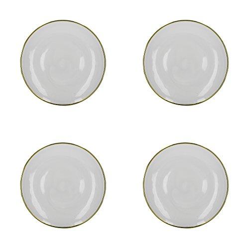 Creative Tops C000011 Mikasa Doré Bord en verre (lot de 4) Assiettes de présentation, Blanc/doré