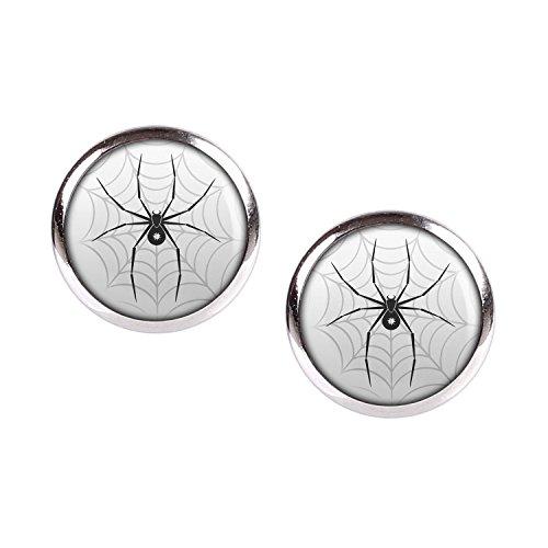 Mylery Ohrstecker Paar mit Motiv Schwarze Spinne Stern Netz silber 12mm (Emo Halloween-kostüme)