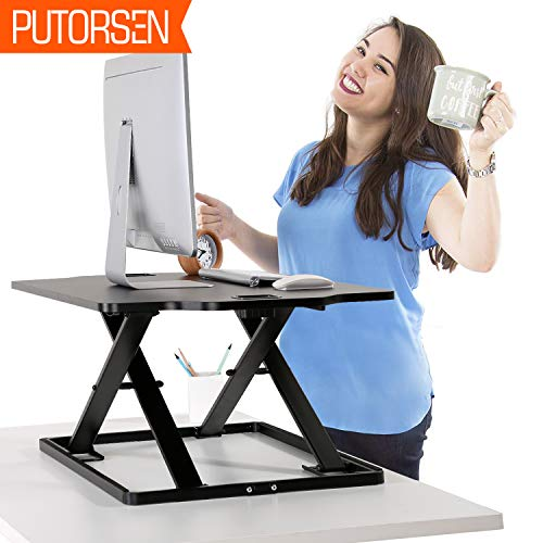 PUTORSEN Höhenverstellbar Sitz-Steh-Schreibtisch Computertisch - Schreibtischaufsatz...