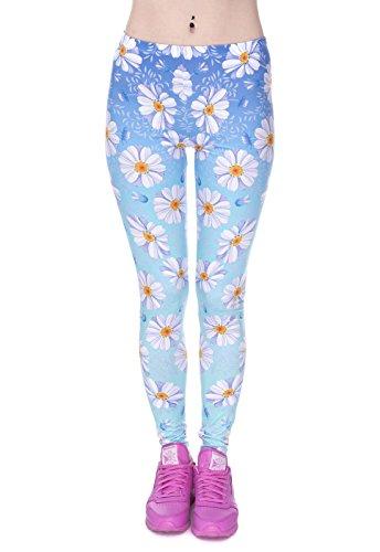 Loomiloo® Leggings Damen Mädchen - Leggins Hose Mandala Ornament Tribal Sommer Boho Ibizia Aztek (Daisy Blue Ombre) -