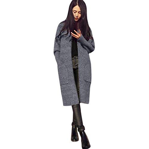 Bekleidung Loveso Cardigan Herbst Winter Kleidung Einfarbig Mode Damen Strickjacke Langarm mit Tasche Casual Mantel Coat Streetwear (One Size, Grau)