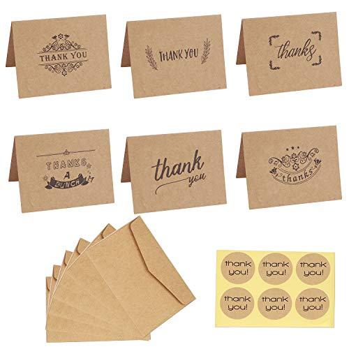 Dankeskarten 6 Designs Braune Kraftpapier Danke Grußkarten mit 36 Umschläge und 36 Danke Aufkleber für Hochzeit, Schulabschluss, Baby-Dusche, Jahrestag, Geschäft 36 Stück