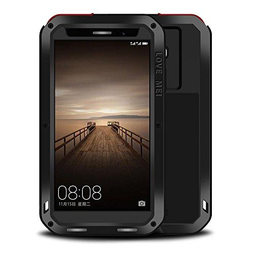 Huawei Mate 9 Hybride Hülle : Mächtig Aluminium Metall Rüstung Gorilla-Glas Stoßfest Schneesicher Staubdicht Case für HUAWEI Mate 9 (Schwarz)