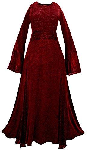 LONG RED MEDIEVAL PRINCESS DRESS 10 12 14 16 18 20 22 24 26 28 30 32 goth boho S M L XL 2XL 3XL 4XL gothic witch pagan wicca plus size (22/24)