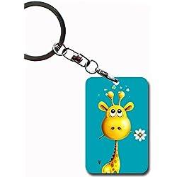 Kawaii Print Giraffe Mdf For Key Ring For Men