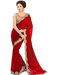 Bhavna Creation Women's Faux Georgette Saree With Blouse Piece (Priyanka_Red,Free Size)