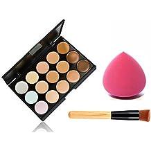 Scrox 15 colores cálidos sombra de ojos maquillaje corrector contorno paleta + pincel de maquillaje + maquillaje esponjas esponja soplo