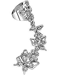 Taffstyle® Knorpel Schmuck Ohrklemme Ohrring Ohrstecker Helix Cartilage Piercing ear cuff mit Kristall Schmetterling